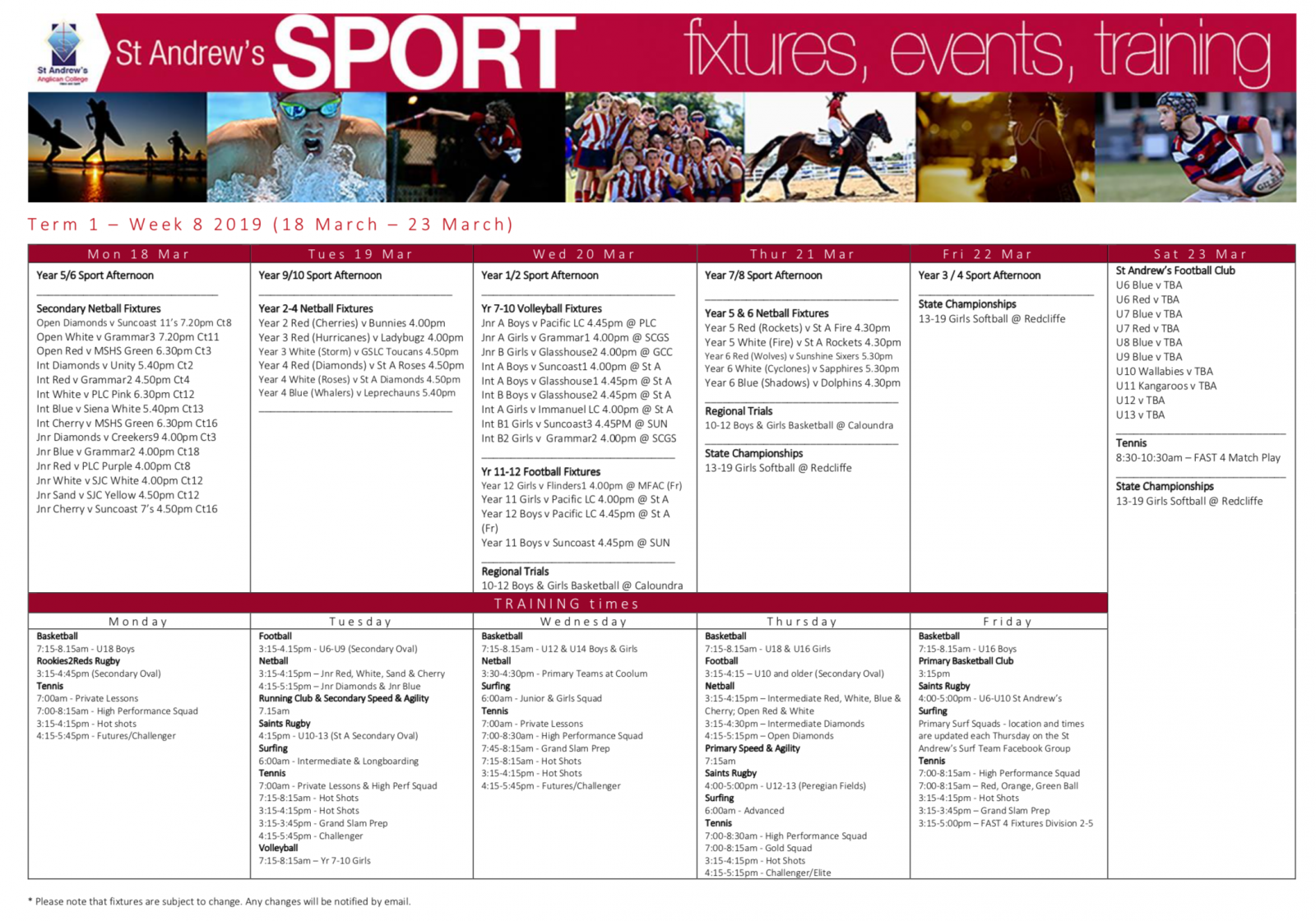 Sport Bulletin - Week 8 - Term 1 | St Andrew's Anglican College