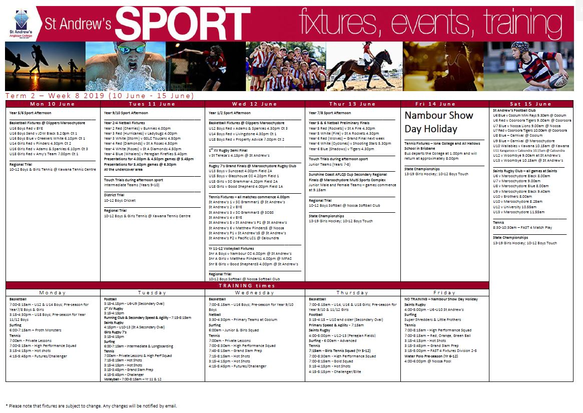 Sport Bulletin - Week 8 - Term 2 | St Andrew's Anglican College