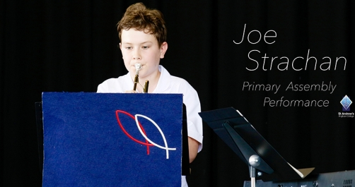 Joe Strachan performs at Primary Assembly