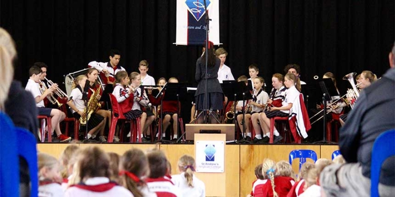 Concert band performs at Primary Assembly