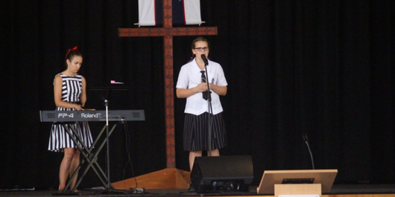 Sarah McDiarmid performs at Secondary Chapel