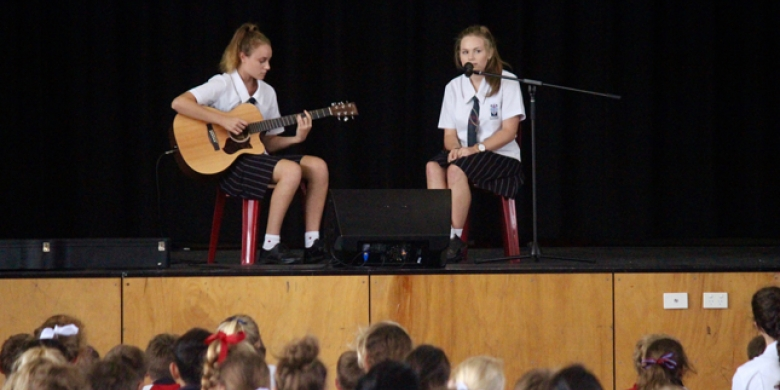 Cammie & Katherine perform at Secondary Assembly today