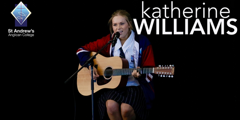 Katherine Williams performs at Secondary Assembly
