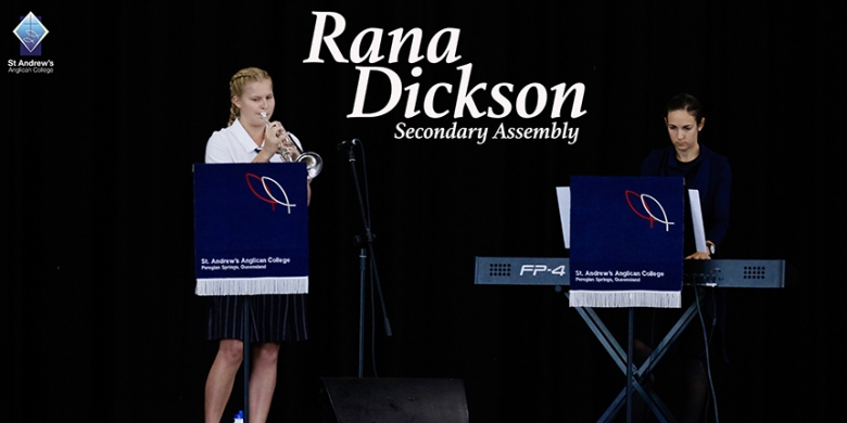 Rana Dickson performs at Secondary Assembly