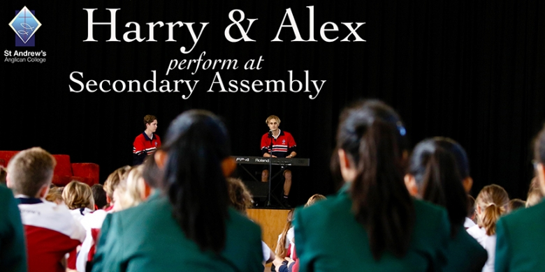 Harry and Alex Perform at Secondary Assembly