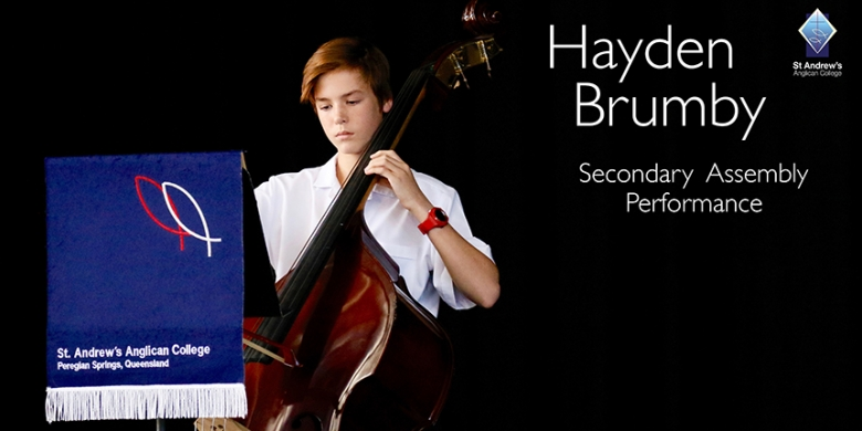 Hayden Brumby performs at Secondary Assembly