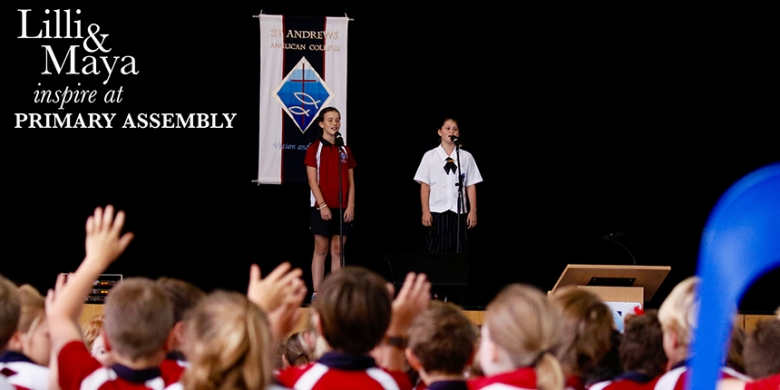 Lilli & Maya inspire students at Primary Assembly