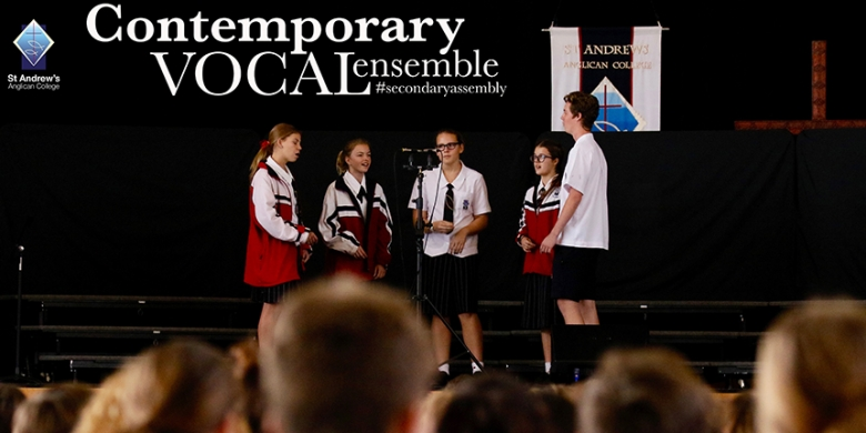 Contemporary Vocal Ensemble perform at Secondary Assembly