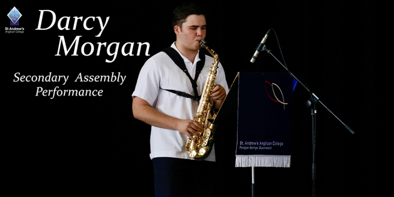 Darcy Morgan performs at Secondary Assembly