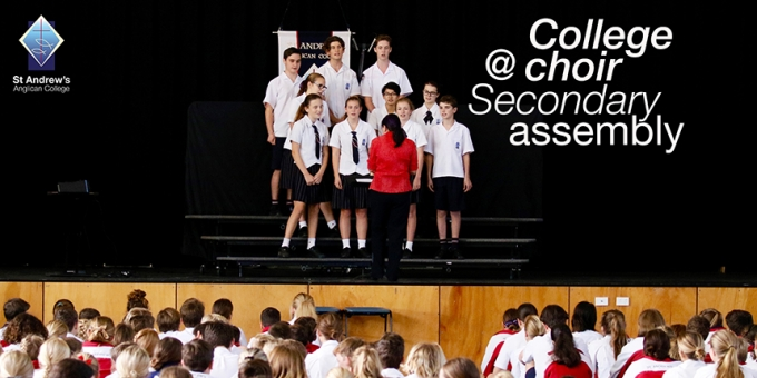 College Choir perform at Secondary Assembly