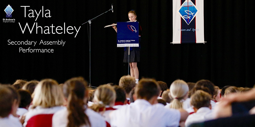 Tayla Whateley performs at Secondary Assembly